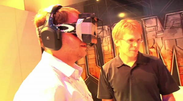 Carmack demonstrating an early Rift prototype with a special version of Doom 3: BFG, altered to work with the Rift