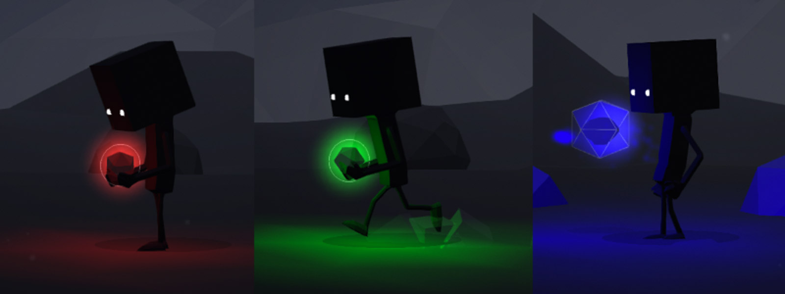 Character holding different lights