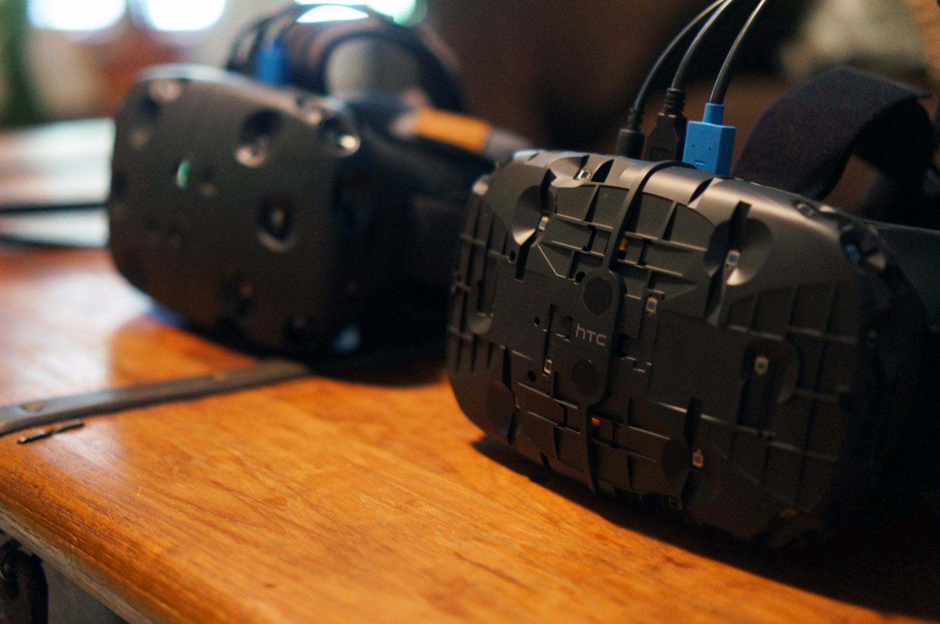 The HTC Vive Developer Edition (right) next to the older dev kit prototype