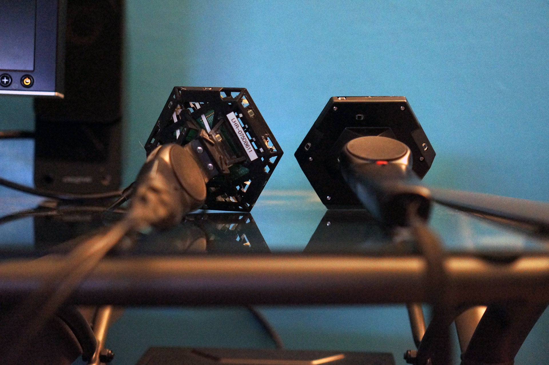 Closeup with the HTC Vive Developer Edition Headset for