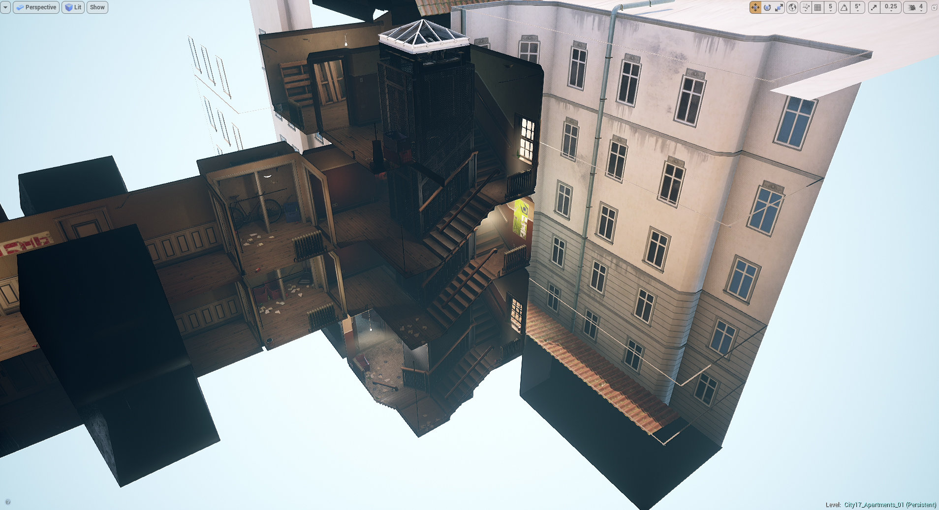 Half-Life 2 City 17 Area Re-created in Unreal Engine 4 with