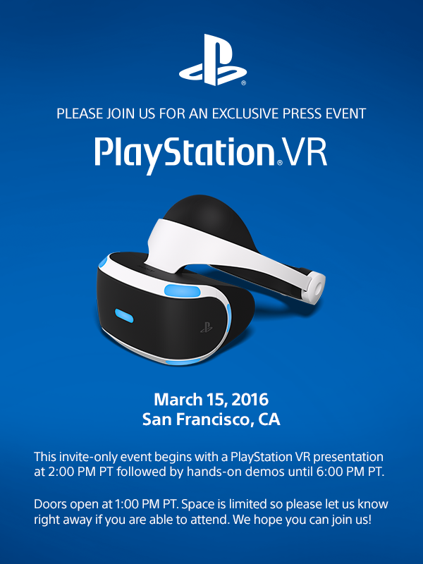 71c79f5d2687 Sony Send Out Invites to PlayStation VR GDC Press Event – Road to VR