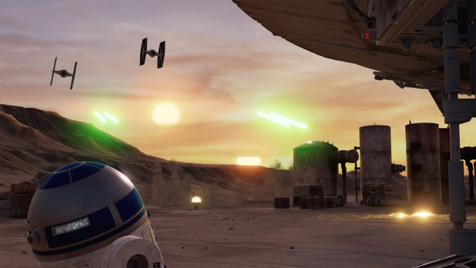 star wars trials of tatooine virtual reality htc vive vr tie fighters r2d2