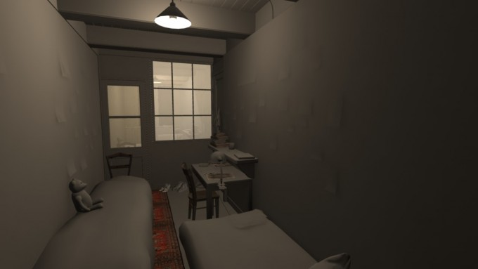 "Early design render of Anne Frank's room, one of 7 rooms in the ""secret annex"" in which she  and 7 others hid for two years (July 5th,1942  - August 4, 1944). It includes her bed (with the  Teddy Bear) on the left, the door and windows leading to the shared bathroom, the desk at  which she wrote her diary, the diary itself sitting on the desk, and the bed for Albert Dussel,  another ""annex"" member."