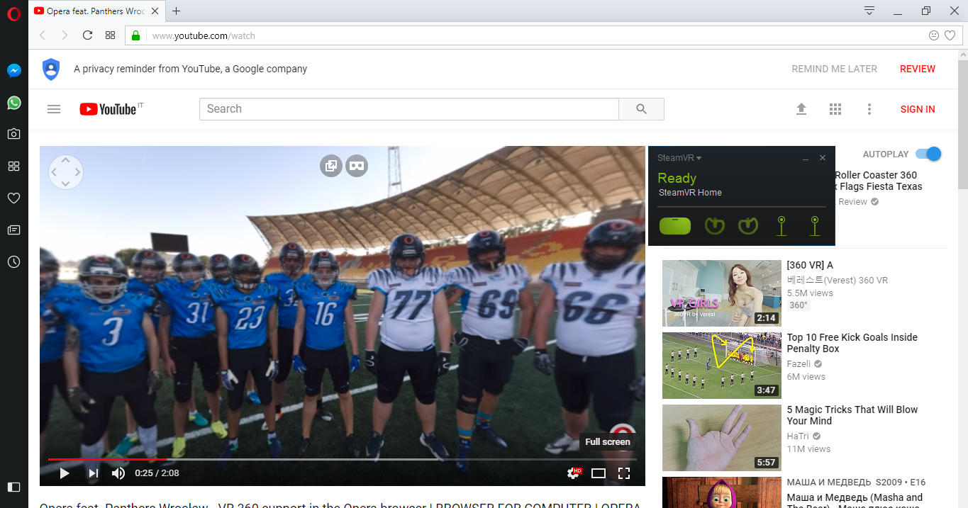 Opera Browser Adds 360 Video Player for VR Headsets, Plans