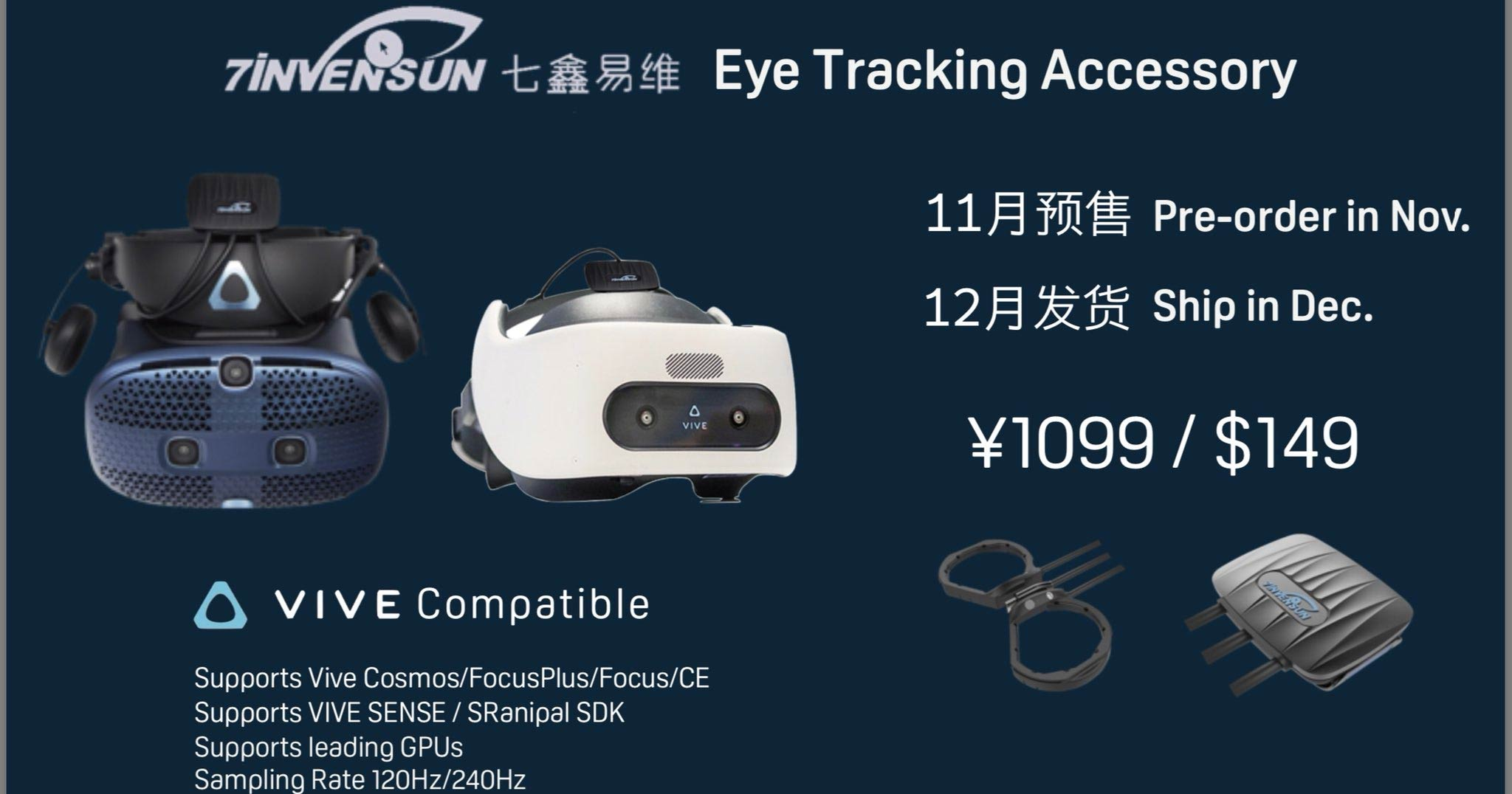 7invensun Announces $150 Eye-tracking Module Supporting All HTC Headsets – Road to VR 2