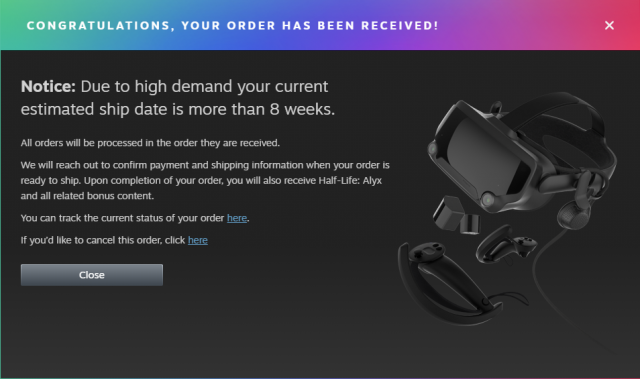 New Valve Index Inventory Sells Out, Backordered to Eight Weeks or Extra 7