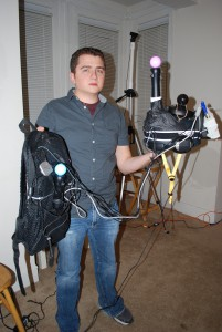 Nathan Burba, CEO of Survios with an early version of Project Holodecks hardware