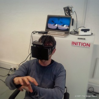 Inition VR Meetup member tries SoftKinetic's VR demo. Credit KWP The Stinger Report