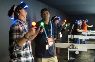 Sony's Playstation Move Controllers being used with Project Morpheus at GDC 2014