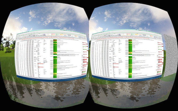 Road to VR rendition of Microsoft Excel using Microsoft Office© Oculu 2014 Enterprise Edition™