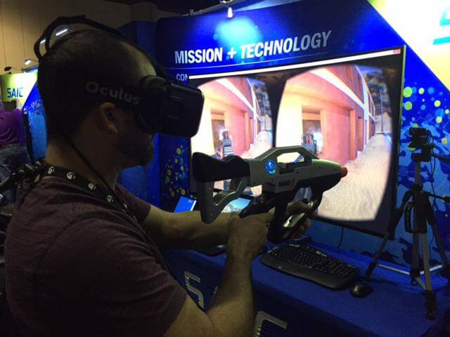 The official Twitter handle of SAIC Inc posted this picture of someone using their Oculus Rift based system while at I/ITSEC 2014