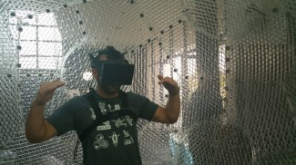 Dylan Watkins tries out the Virtusphere for the very first time